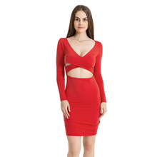 Solid Skinny Woman Set Sexy Long Sleeve Short V-neck Dress Umbilicus Pencil