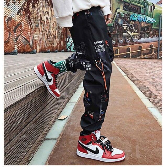 Hip hop Pants Men Loose Joggers Print Streetwear Harem Pants Clothes Ankle length Trousers 22