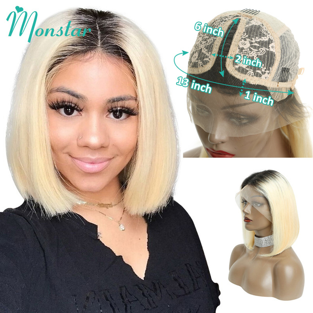 Monstar 613 Blonde Spitze Front Perücke 13x6 Kurze Bob Perücke Malaysische Gerade Remy 1B 613 Ombre Blonde Farbe spitze Front Menschliches Haar Perücke