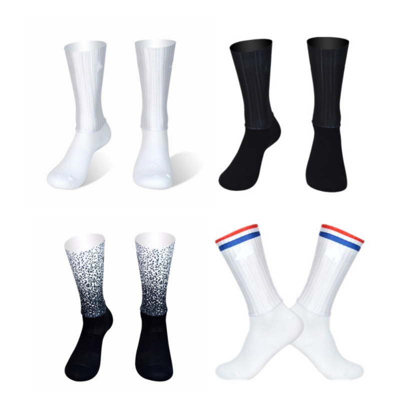 2019 Hot Sale Anti Slip Silicone Stripe Socks Breathable Cycling Socks Men Sports Football Soccer Running Bicycle Socks Male