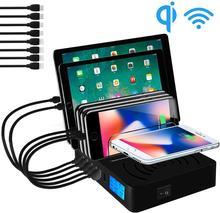 רב USB מטען Qi מהיר אלחוטי מטען עבור Iphone 8X11 Pro סמסונג S10 LCD מטען מהיר תצוגת Carregador dock תחנה