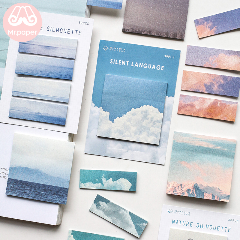 Mr.Paper 8 Designs Nature Cloud Silent Ocean Mountain Memo Pad Sticky Notes Notepad Diary Creative Self-Stick Note Memo Pads