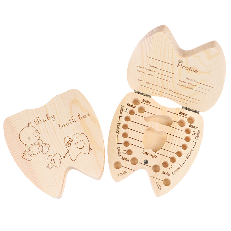 1pc Baby Gift Wood Baby Girl Boy Tooth Organizer Boxes Save Deciduous Teeth Storage Keepsakes Collecting