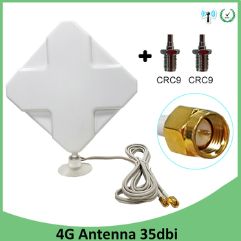 3G 4G LTE Antenna SMA Male 2m Cable 35dBi 2*SMA connector for 4G Modem Router +Adapter SMA Female to CRC9 Male connector indoor high gain 700 2600mhz 4g lte mimo antenna with 2 pcs 2m cable with crc9 sma ts 9 male connector