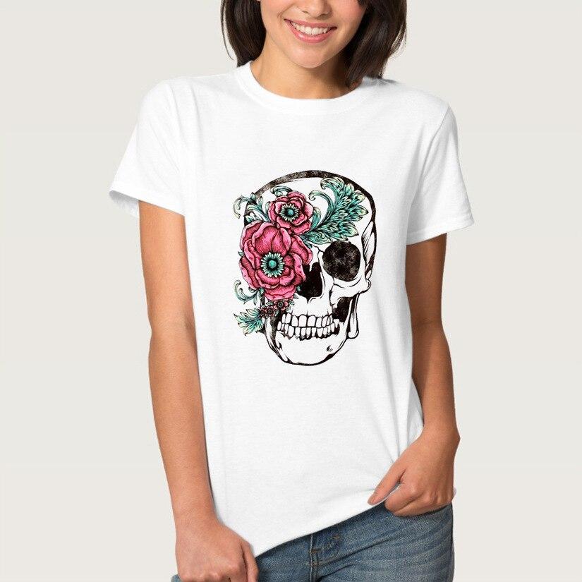 Rose Skull Print T Shirt Women Short Sleeve O Neck Loose Tshirt 2019 Summer Fashion Women Tee Shirt Tops