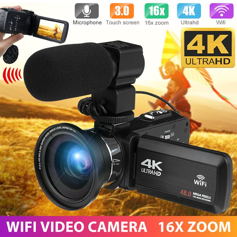 Smart Professional 4k Wifi Camcorder Video Camera 48mp Dv Camcord 3.0 Inch Lcd Touch Screen Camera 16x Digital Zoom Camera With Mic In Pain