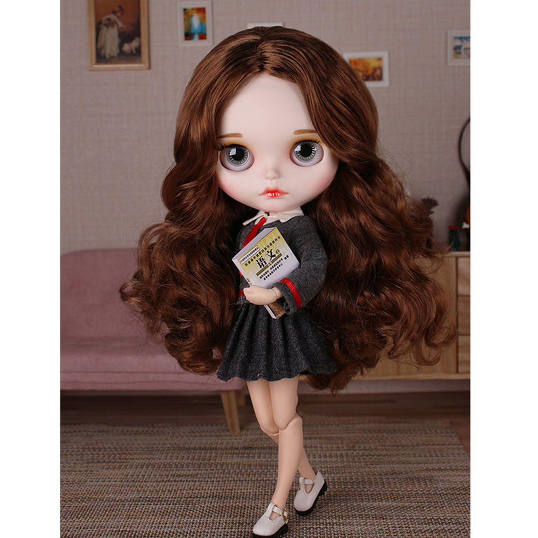 19 Joints 1/6 Matte Makeup Big Eyes Doll with Full Clothes and 9Pair Hands Model Blyth  Dolls Girls Gift - Brown Curly Hair