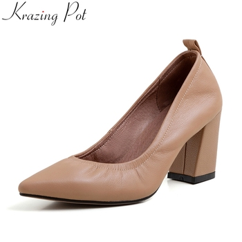 Krazing pot genuine leather high heels slip on popular pointed toe high heels office lady women pumps wedding spring shoes L26 big size 11 12 candy color pink slip on women pumps wedges heels pointed toe pu soft leather autumn spring girl office shoes