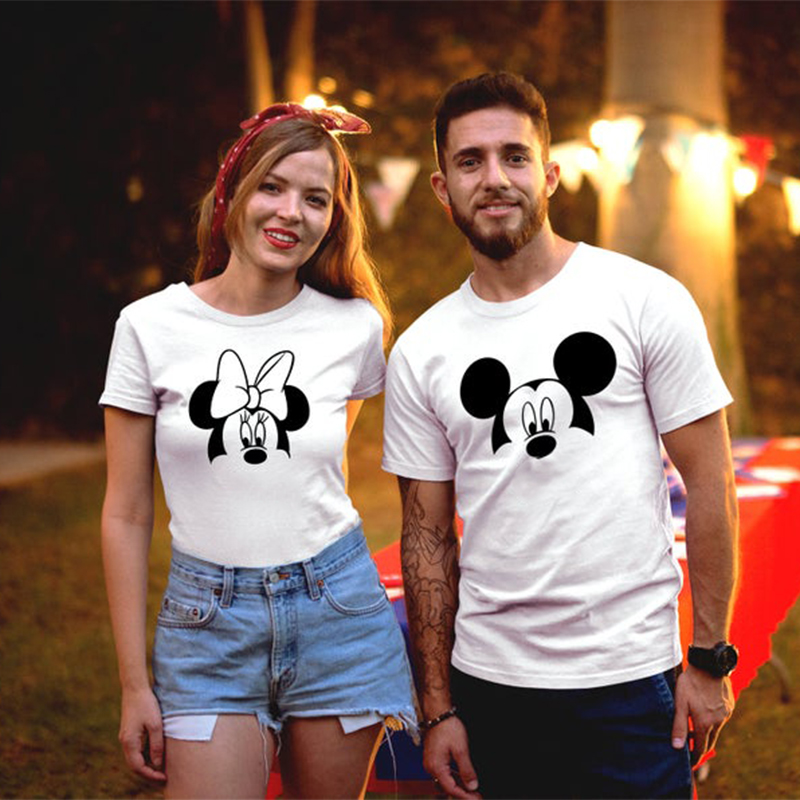 Tshirt Couple Clothes Harajuku Mickey Men T Shirt Graphice Tees Women Shirts Minnie Tops T-shirt