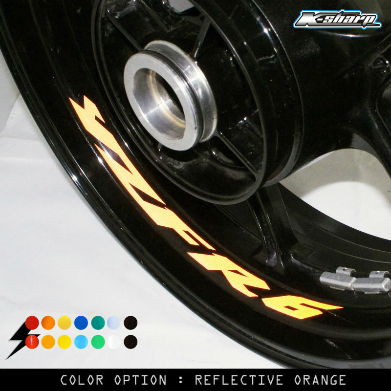 8 X CUSTOM INNER RIM DECALS <font><b>WHEEL</b></font> Reflective <font><b>STICKERS</b></font> STRIPES FIT <font><b>YAMAHA</b></font> YZF <font><b>R6</b></font> image