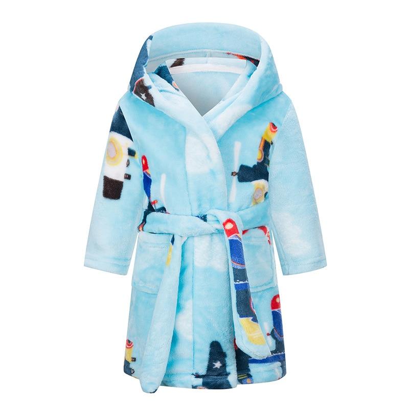 IYEAL Kids Bathrobe Flannel Sleepwear Baby Boys Robes For Girls Clothing Winter Warm Home Wear Children Robes Clothing Sleepwear 3