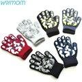 Теплые вязаные перчатки WARMOM для детей  зимние камуфляжные перчатки из ПВХ с противоскользящим покрытием  спортивные перчатки для детей на о...