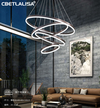 Modern LED Chandelier Rings Round Ceiling Lamp Chandelier Lighting for The Living Room Dining Kitchen Coffee and Gold