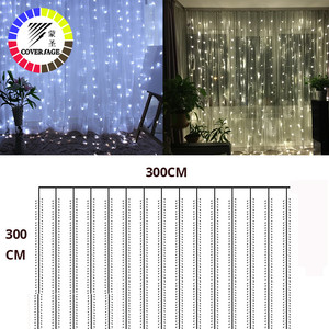 Image 5 - Coversage Weihnachten Led leuchten Vorhang Garland 3X3M LED String Fairy Dekorative Outdoor Indoor Hause Hochzeit Dekoration Net Licht