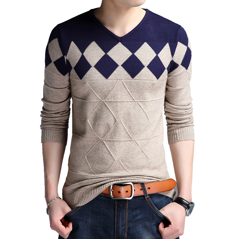BROWON Autumn Men's V-neck Sweater Collarless Sweater Christmas Sweaters Fashion Casual Slim Fit Sweaters Men