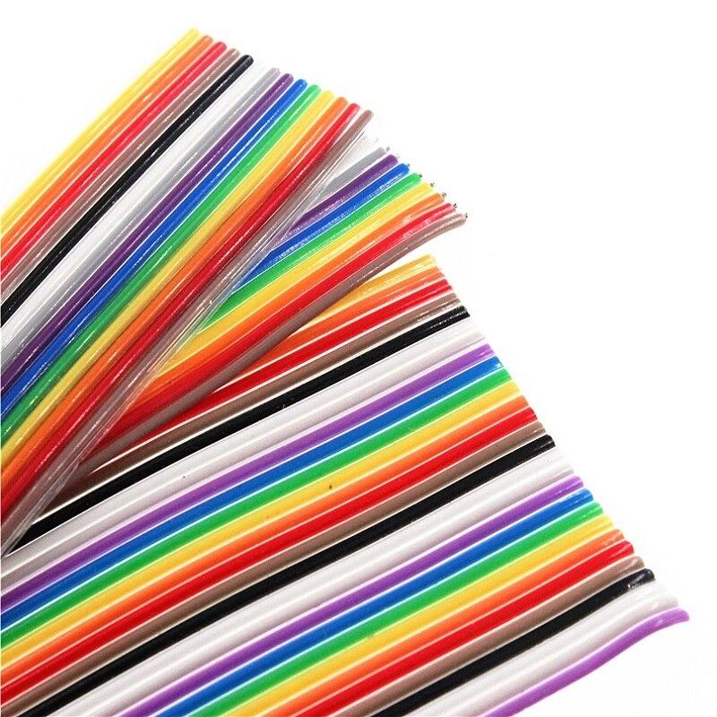 1 метр 10 P/12 P/14 P/16 P/20 P/26 P/34 P/40 P/50 P 1,27 мм цвет шаг плоский ленточный кабель Радуга DuPont провода для FC dupont разъем
