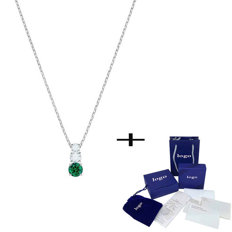 SWA New Attraction Trilogy Round Green Crystal Pendant Necklace Valentine's Day Romantic Fashion Luxury Gift  Unique Retro