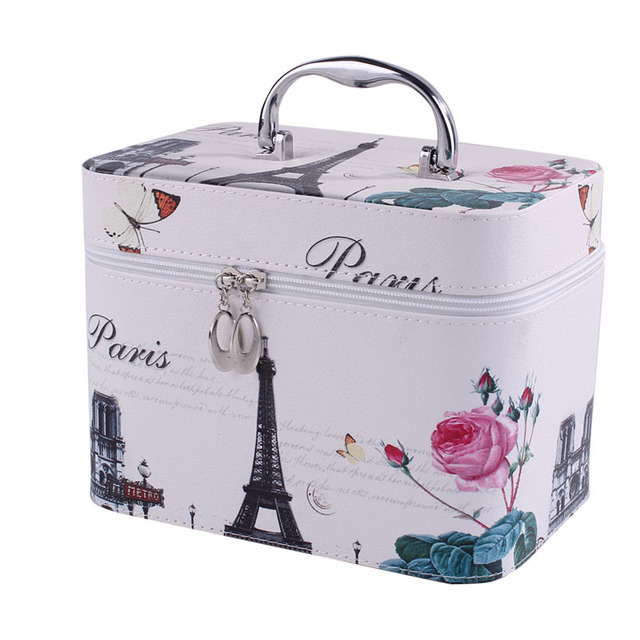 Cute Pattern Iron Tower Women Makeup Box Professional Portable Zipper Large Cosmetic Bag Much Colors