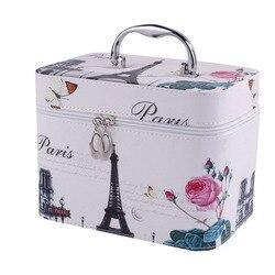 Lindo patrón de hierro de la torre de las mujeres caja de maquillaje profesional portátil cremallera grande bolsa de cosméticos muchos colores