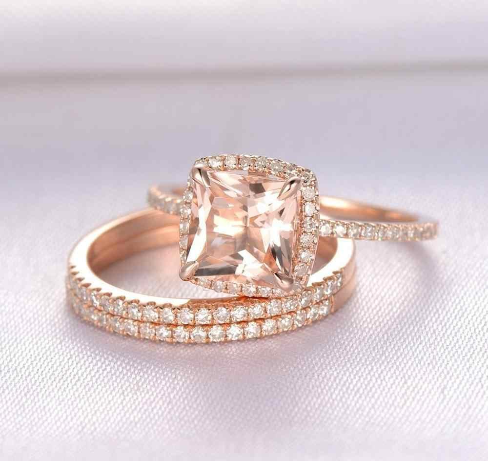 2019 ファッションビッグシャンパンリングセット高級約束ジルコン石の結婚指輪ローズゴールドブライダルエンゲージリング