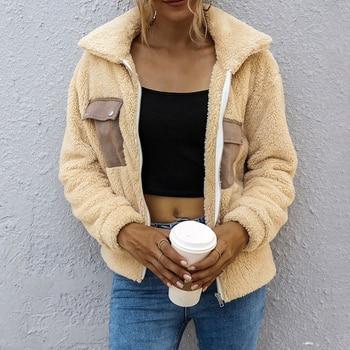 Women Faux Fur Jacket Teddy Bear Fleece Fake Fur Coat Zip Pocket Long Sleeve Casual Streetwear Ladies Winter Manteau Femme
