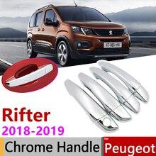 for Peugeot Rifter Partner 2018 2019 2020 Chrome Exterior Door Handle Cover Car Accessories Stickers Trim Set of 4Door