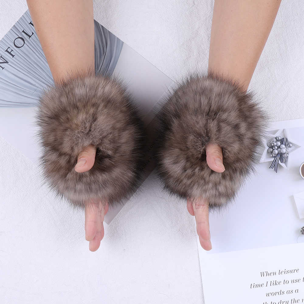 Real Sable Fur Kintted Gloves Mittens Ski Driving Wrist Glove Warm Fur Mitts