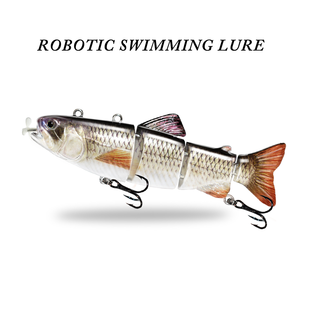 ODS Robotic Swimming Lures Auto Electric Lure Bait Fishing Wobblers For 4-Segement Swimbait USB Rechargeable LED light bass pike