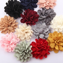 "50pcs 6.2CM 2.4""  Vintage Solid Hair Flower For Hair Accessories Polyester Cute Artificial Rose Fabric Flowers For Head Wear"