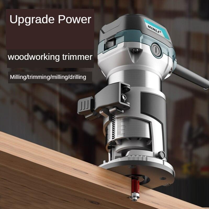 Trimming machine Woodworking slotting machine Hole cutting Woodworking decoration tool Multifunctional engraving machine