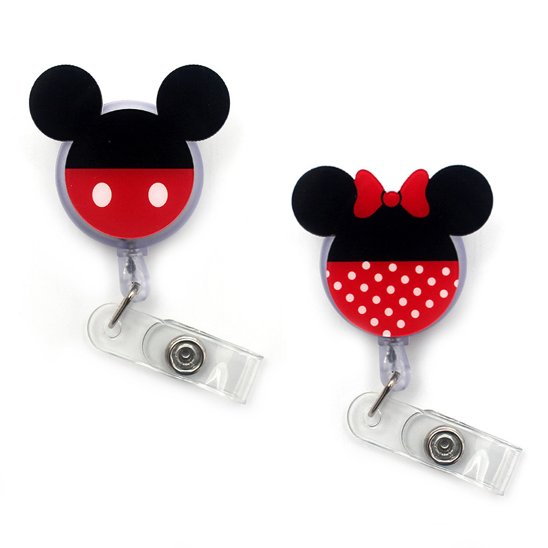 2020 New Cute Mickey Minnie Acrylic Retractable Badge Reel Nurse Doctor Student Exhibition ID Card Clips Badge Holder Stationery