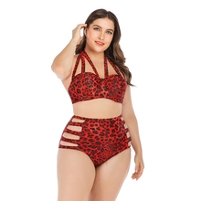 #16 Women Tankini Leopard Print Halter Top High Waist Hollow-out Bikini Lady Underwire Padded Bra Plus Size Swimsuit Beach Suit alluring halter striped hollow out women s tankini set