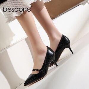 Image 3 - BESCONE moda kadın pompaları el yapımı sığ toka ince topuk ayakkabı yeni temel seksi sivri burun elbise yüksek topuk bayan pompaları BM78