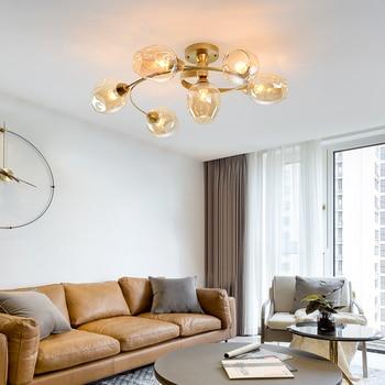 Nordic Modern Chandelier Lighting  Led Lamp Black Gold Metal Ceiling Chandelier Light Fixture Glass Hanging Lampada 110V 220V