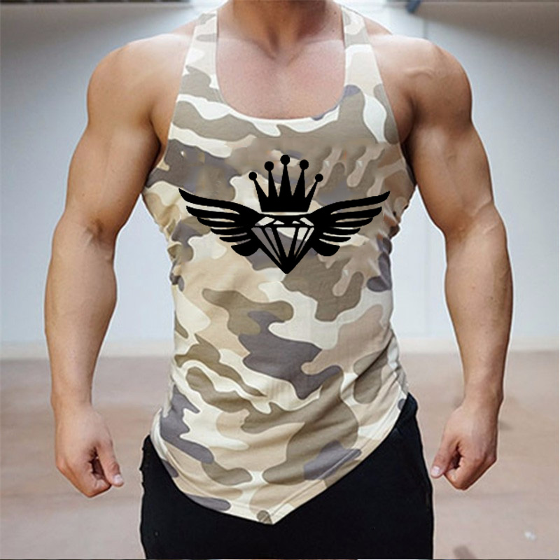 Fitness Clothing Sleeveless Shirt Men Tank Top Army Camo Camouflage Mens Bodybuilding  Tank Tops