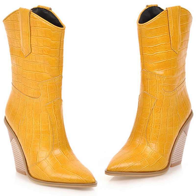 Litthing batı kovboy çizmeleri kadın orta buzağı botları kama kış Pu deri çizmeler sivri burun Cowgirl kısa çizmeler kadın