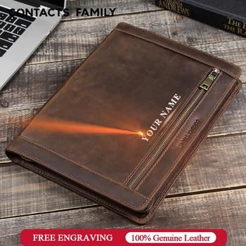 Leather business office notebook document bag file folder portfolio journal note book case multi-function briefcase organizer