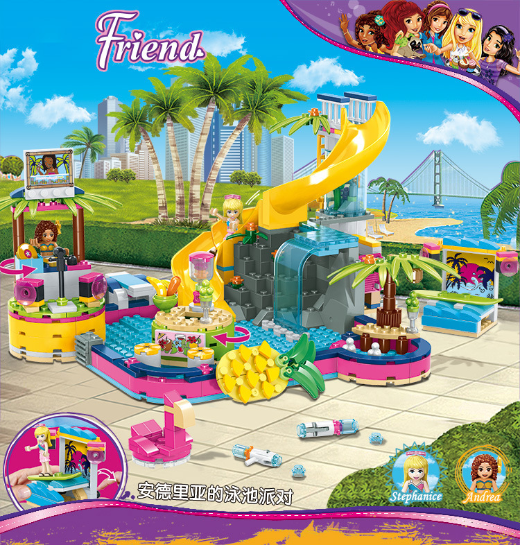 The Heartlake City Series Karaoke Pool Party Compatible Lepining Friends 41374 Building Blocks Toys For Kids Christmas Gift