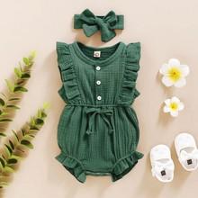 Одежда для новорожденных, комплект для новорожденных, детская одежда для девочек, без рукавов, гофрированное, с пуговицами, комбинезон + пов...