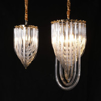New fashion light luxury chandelier American restaurant led hanging lamp Nordic gold metal e14 holder art glass tube chandeliers