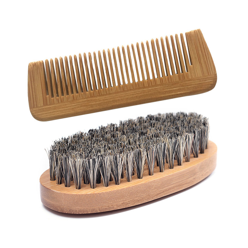 2PC Beard Brush Boar Bristle For Men's Mustache Shaving Comb Face Massage Facial Hair Cleaning Brush Beech Comb Drop Shipping
