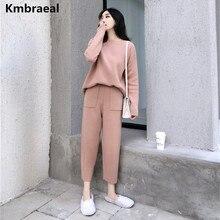 Suéter de Cachemira de dos piezas de moda para mujer conjuntos de punto chándal Delgado 2019 Otoño Invierno moda sudaderas traje deportivo femenino