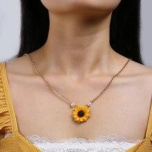 Unique Trendy Sunflower Pendant Necklace For Women Imitation Pearls Sweater Chain 2020 Female Minimalist trendy ancient silver owl pendant sweater chain necklace for women