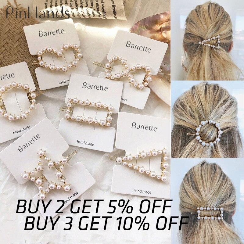 Fashion Crystal Pearl Hair Clip Metal Hairclip Elegant Barrette Bobby Hair Pins Wedding Girl Hair Clip Hair Barrette For Women