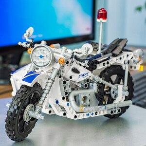 Image 3 - 550 PCS Technic รถจักรยานยนต์ตำรวจอาคารอิฐบล็อก Sidecar Motorcross ชุด Technic บล็อกรถของเล่นของขวัญ