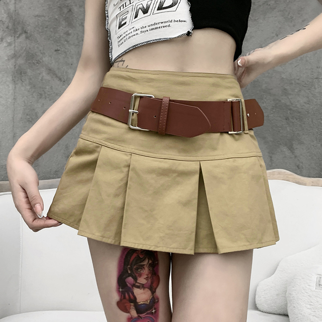 Gothic Skirts with A Line design and belt