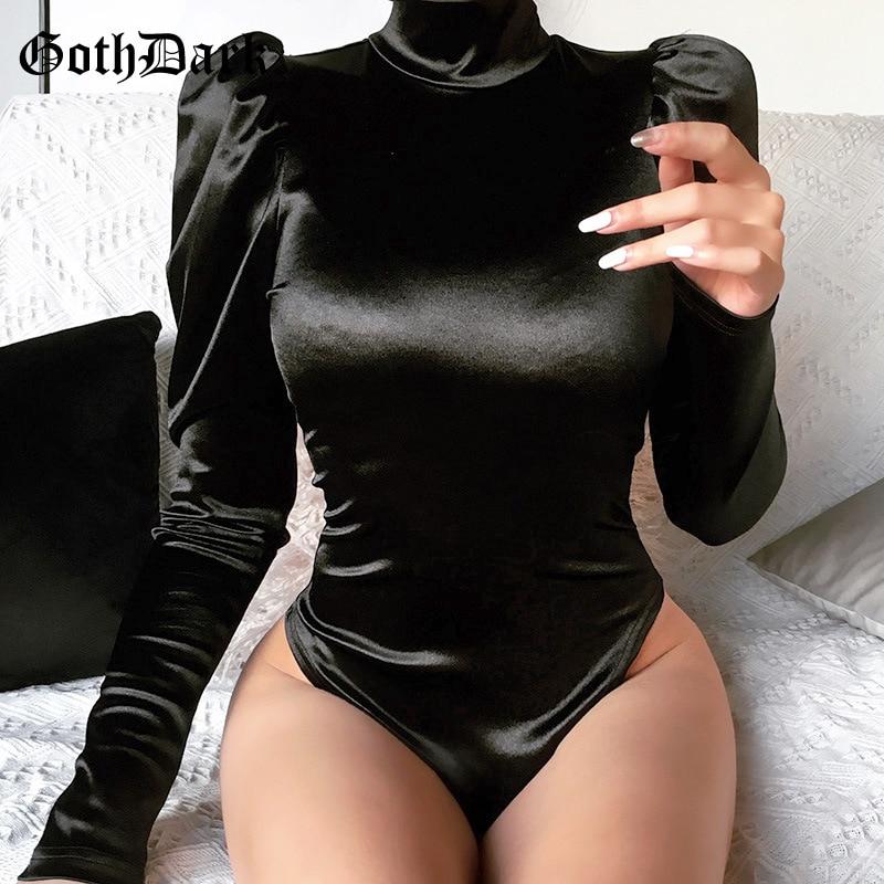 Goth Dark Gothic Egirl Vintage Grunge Female Bodysuits Harajuju Patchwork Zipper Longsleeve Bodysuit Aesthetic Emo Y2K Grunge