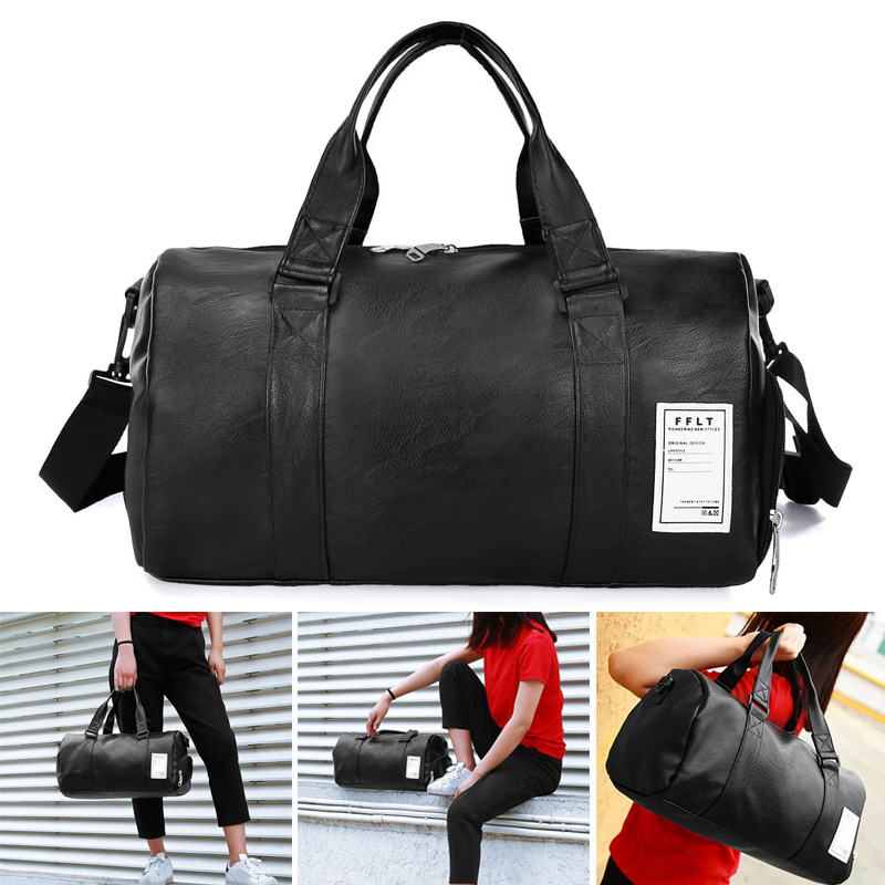 Newly Women Men Fitness Bag Solid PU Waterproof Large Capacity Sport Totes For Travelling BFE88