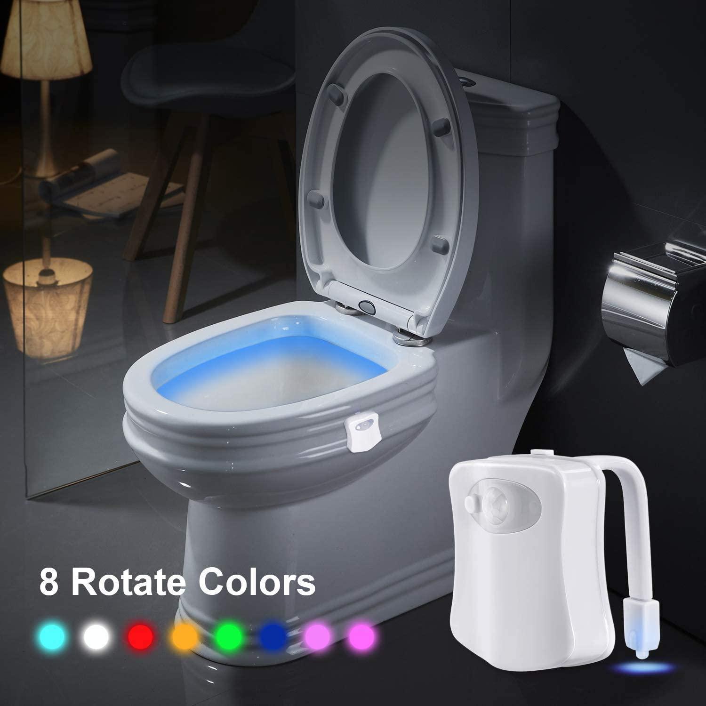Светодиодный сиденье для унитаза Ночной светильник движения Сенсор Ванная комната туалет светильник 8 цветов сменная лампа Батарея привед...