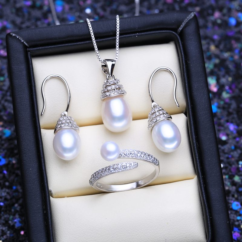 FENASY 925 Sterling Silver Jewelry Sets Natural Pearl Drop Earrings Necklace Luxury Pendant Chain Necklaces For Women Ring Set